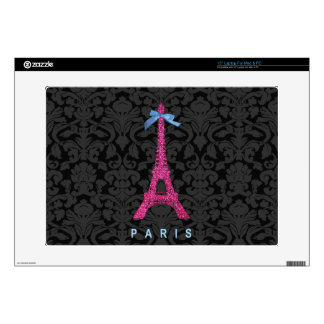 "Hot Pink Eiffel Tower in faux glitter Decals For 15"" Laptops"