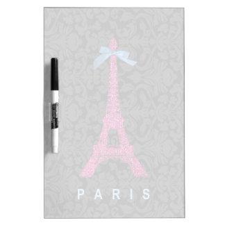 Hot Pink Eiffel Tower in faux glitter Dry-Erase Board
