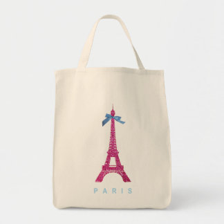 Hot Pink Eiffel Tower in faux glitter Grocery Tote Bag