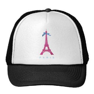 Hot Pink Eiffel Tower in faux glitter Trucker Hats