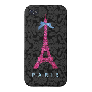 Hot Pink Eiffel Tower in faux glitter iPhone 4 Case
