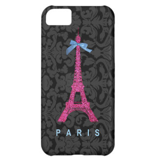 Hot Pink Eiffel Tower in faux glitter iPhone 5C Cases