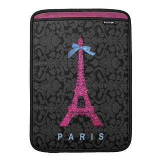 Hot Pink Eiffel Tower in faux glitter MacBook Air Sleeve
