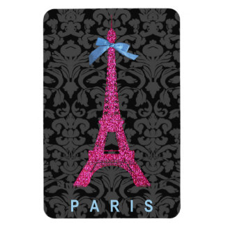 Hot Pink Eiffel Tower in faux glitter Magnet