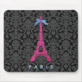 Hot Pink Eiffel Tower in faux glitter Mousepad