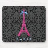 Hot Pink Eiffel Tower in faux glitter Mousepad
