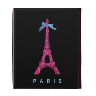 Hot Pink Eiffel Tower in faux glitter on black iPad Folio Covers