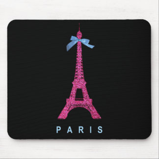 Hot Pink Eiffel Tower in faux glitter on black Mouse Pad