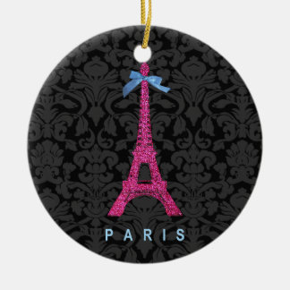 Hot Pink Eiffel Tower in faux glitter Christmas Tree Ornament