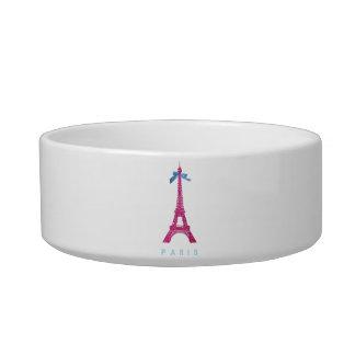 Hot Pink Eiffel Tower in faux glitter Pet Bowl