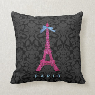 Hot Pink Eiffel Tower in faux glitter Pillow