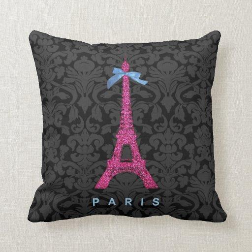 Hot Pink Eiffel Tower in faux glitter Pillow