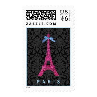 Hot Pink Eiffel Tower in faux glitter Stamp