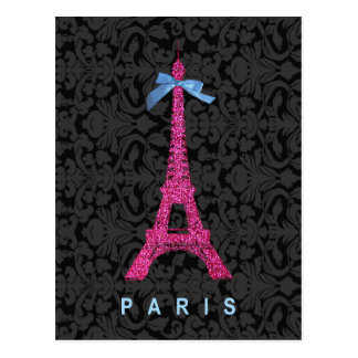 Hot Pink Eiffel Tower in faux glitter Postcard