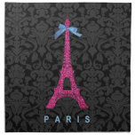 Hot Pink Eiffel Tower in faux glitter Printed Napkins