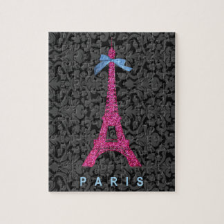 Hot Pink Eiffel Tower in faux glitter Puzzles