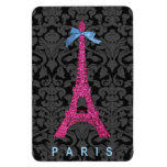 Hot Pink Eiffel Tower in faux glitter Rectangular Photo Magnet