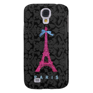 Hot Pink Eiffel Tower in faux glitter Samsung Galaxy S4 Cover