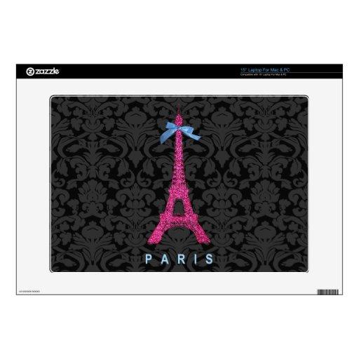 """Hot Pink Eiffel Tower in faux glitter 15"""" Laptop Skin"""