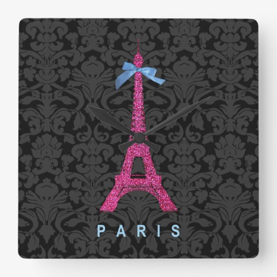 Hot Pink Eiffel Tower in faux glitter Square Wall Clock