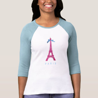 Hot Pink Eiffel Tower in faux glitter T Shirt