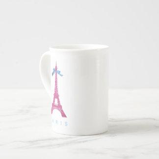 Hot Pink Eiffel Tower in faux glitter Tea Cup