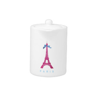 Hot Pink Eiffel Tower in faux glitter Teapot