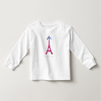 Hot Pink Eiffel Tower in faux glitter Toddler T-shirt