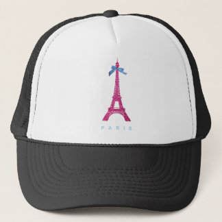 Hot Pink Eiffel Tower in faux glitter Trucker Hat