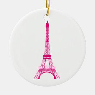 Hot Pink Eiffel Tower Christmas Tree Ornaments