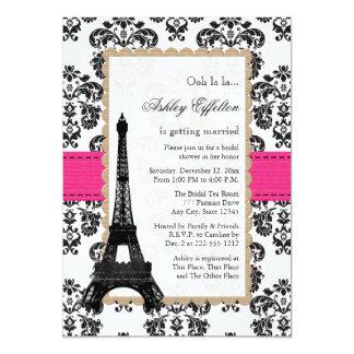 Hot Pink Eiffel Tower Parisian Bridal Shower 5x7 Paper Invitation Card
