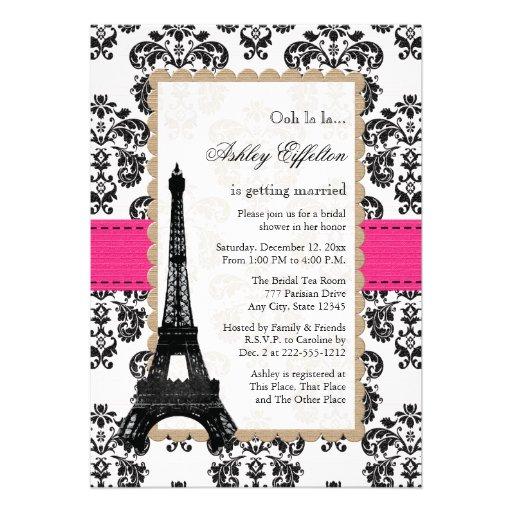 Hot Pink Eiffel Tower Parisian Bridal Shower Announcements