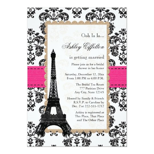 Hot pink eiffel tower parisian bridal shower invitation zazzle hot pink eiffel tower parisian bridal shower invitation filmwisefo