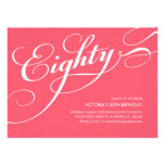 Hot Pink Elegant 80th Birthday Invitations