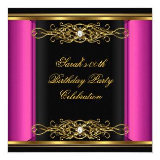 Hot Pink Elegant Birthday Party Black Gold 5.25x5.25 Square Paper Invitation Card