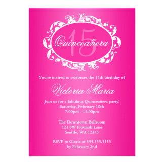 Hot Pink Elegant Swirl Quinceanera Birthday Party Custom Announcement