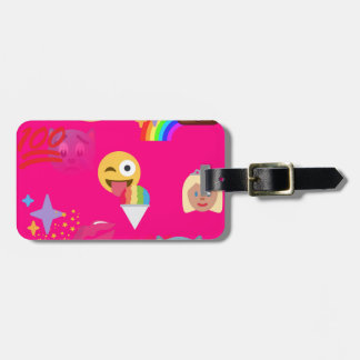 hot pink emoji bag tag