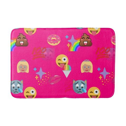 Hot Pink Emoji Bathroom Bathmat Bath Mat