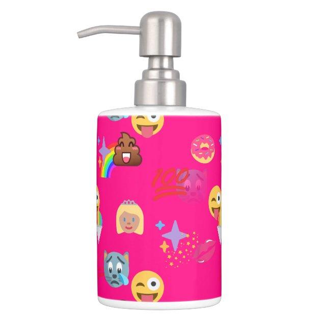 hot pink emoji bathroom toothbrush bath set