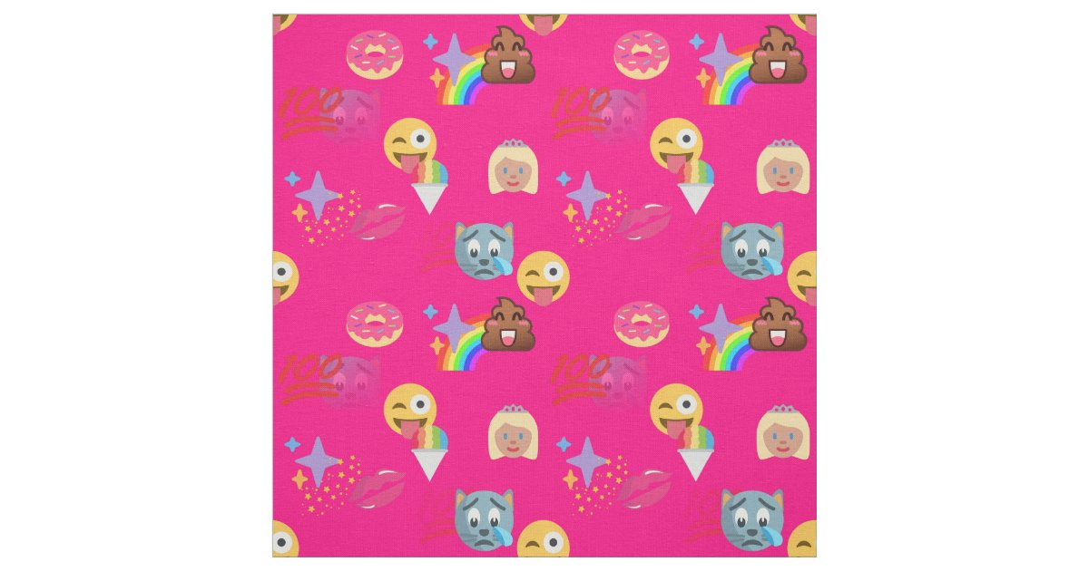 Hot pink emoji fabric zazzle for Emoji fabric