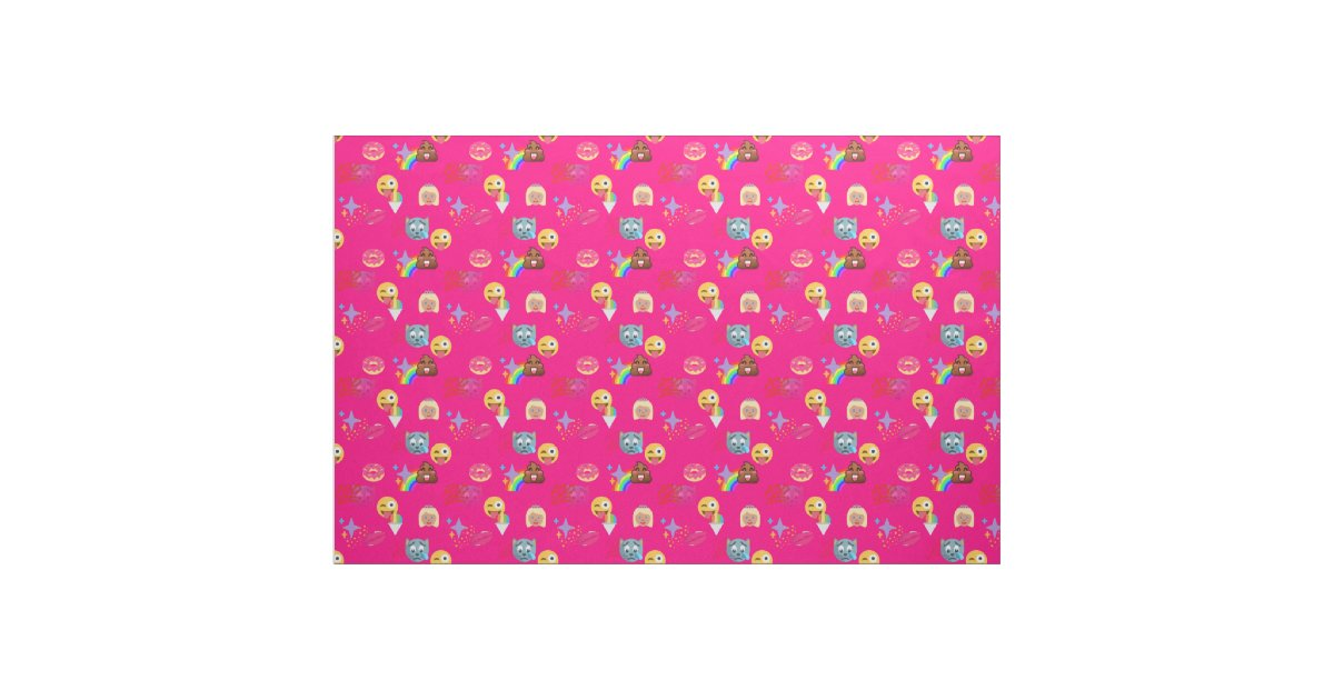 Hot pink emoji fabric zazzle for Emoji material by the yard