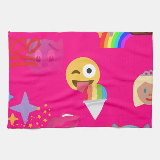 hot pink emoji kitchen towel