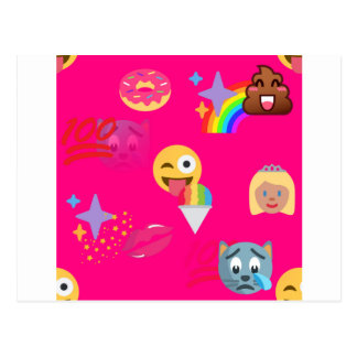 hot pink emoji postcard