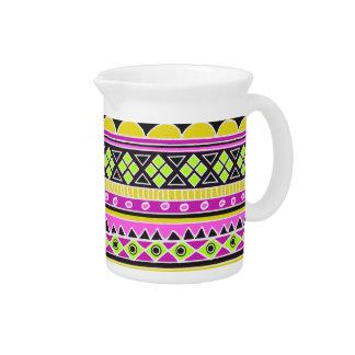 Hot Pink ethnic pattern Beverage Pitcher