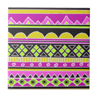 Hot Pink ethnic pattern Tile