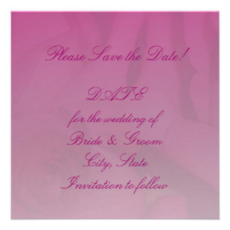 Hot Pink Fadded Rose Save the Date Card Announcements