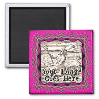 Hot Pink Fantasy Frame Template Magnet