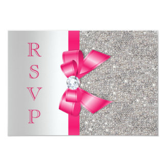 Hot Pink Faux Bow & Diamonds RSVP 3.5x5 Paper Invitation Card