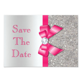 Hot Pink Faux Bow & Diamonds Save The Date 3.5x5 Paper Invitation Card