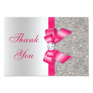 Hot Pink Faux Bow & Diamonds Thank You 3.5x5 Paper Invitation Card